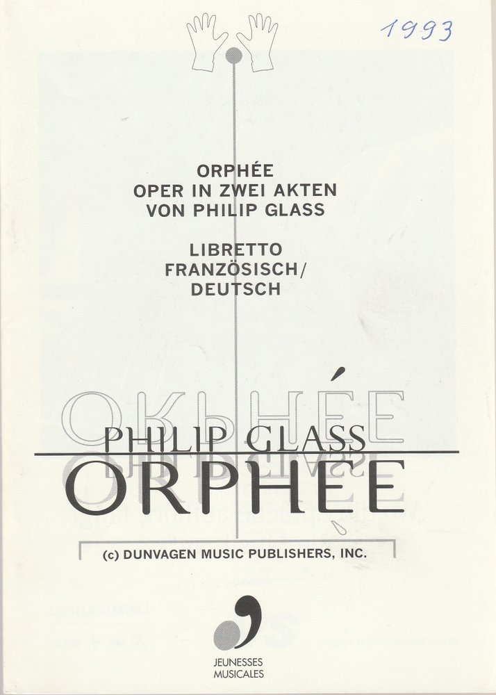 Programmheft Philip Glass ORPHEE Schloß Weikersheim 1993