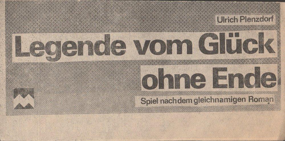 Programmheft Ulrich Plenzdorf LEGENDE VOM GLÜCK OHNE ENDE Marstall Schwerin 1984
