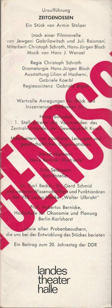 Programmheft Uraufführung Armin Stolper ZEITGENOSSEN Halle 1969