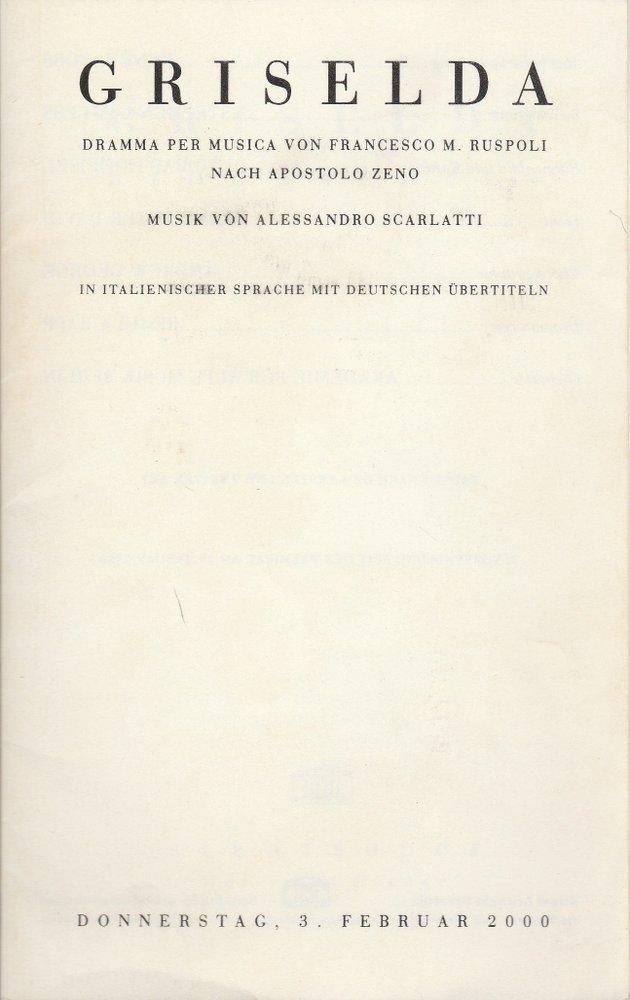 Programmheft Alessandro Scarlatti GRIESELDA Staatsoper Unter den Linden 2000