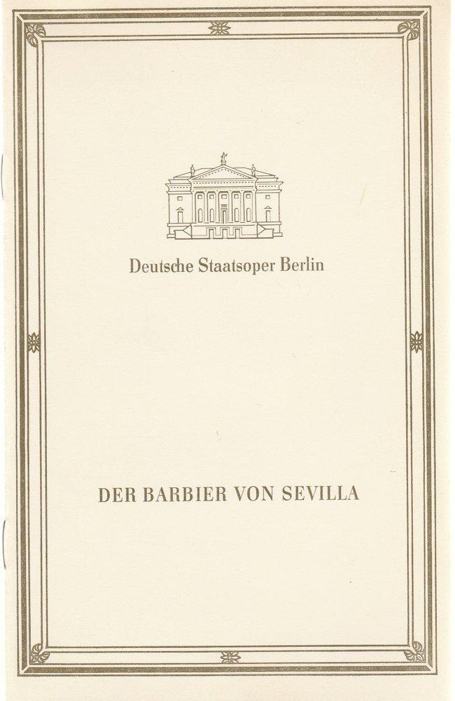 Programmheft Rossini DER BARBIER VON SEVILLA Deutsche Staatsoper Berlin 1988