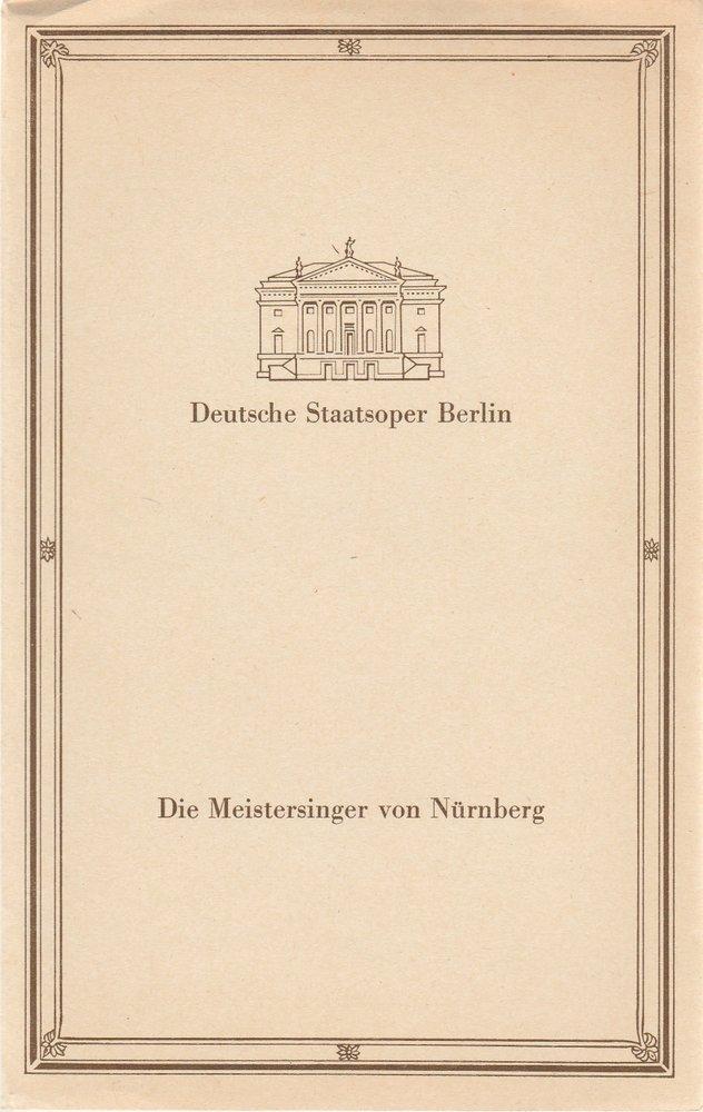 Programmheft Wagner DIE MEISTERSINGER VON NÜRNBERG Deutsche Staatsoper Berlin 86