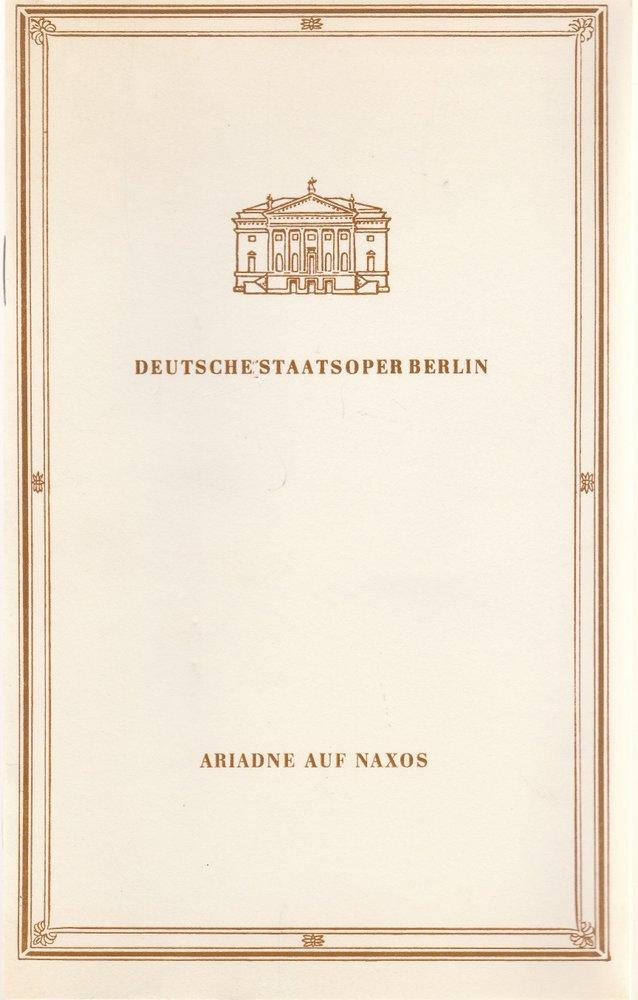 Programmheft Richard Strauss ARIADNE AUF NAXOS Deutsche Staatsoper Berlin 1987