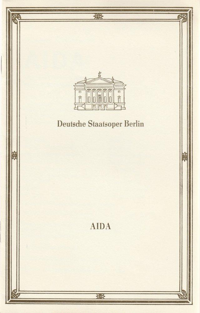 Programmheft Giuseppe Verdi AIDA Deutsche Staatsoper Berlin 1989