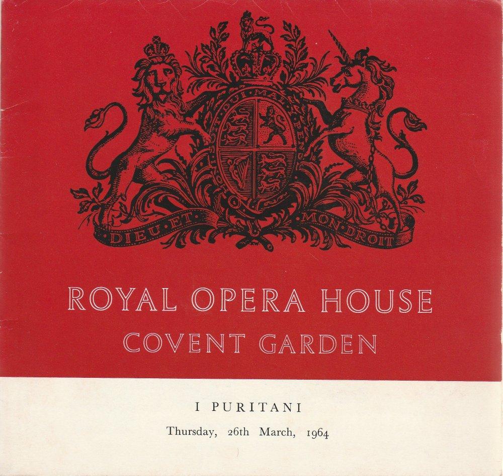 Programmheft Vincenzo Bellini I PURITANI The Covent Garden Opera 1964