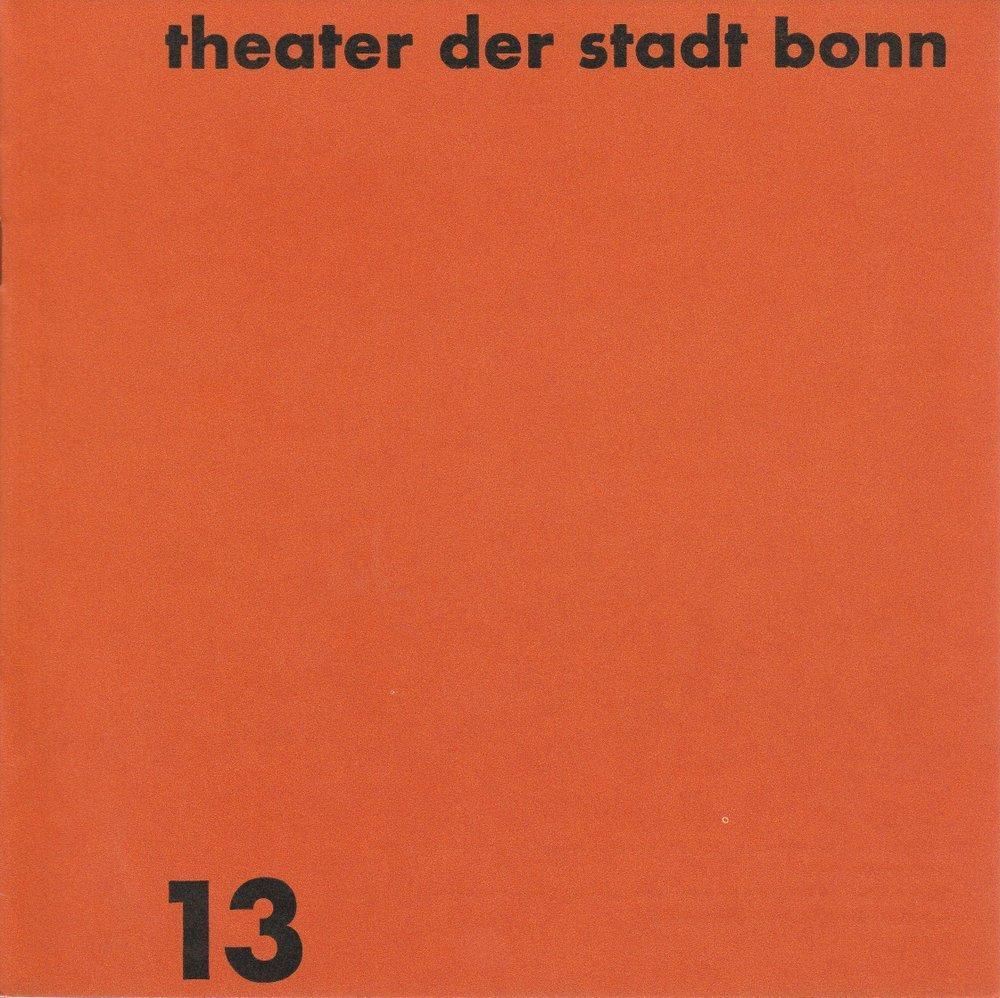 Programmheft Alexander N. Ostrowskij GEWITTER Theater der Stadt Bonn 1968