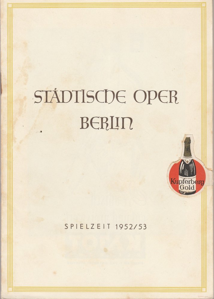 Programmheft Albert Lortzing ZAR UND ZIMMERMANN Städtische Oper Berlin 1953