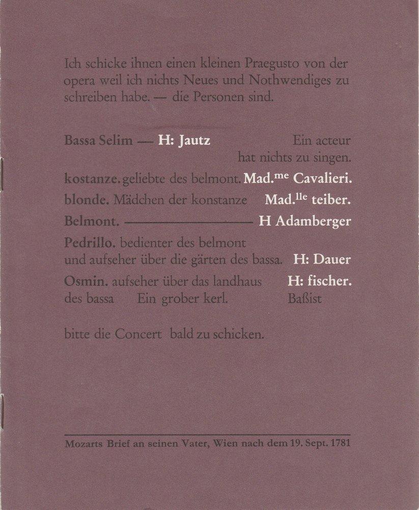 Programmheft W. A. Mozart ENTFÜHRUNG AUS DEM SERAIL Bühnen Köln 1982
