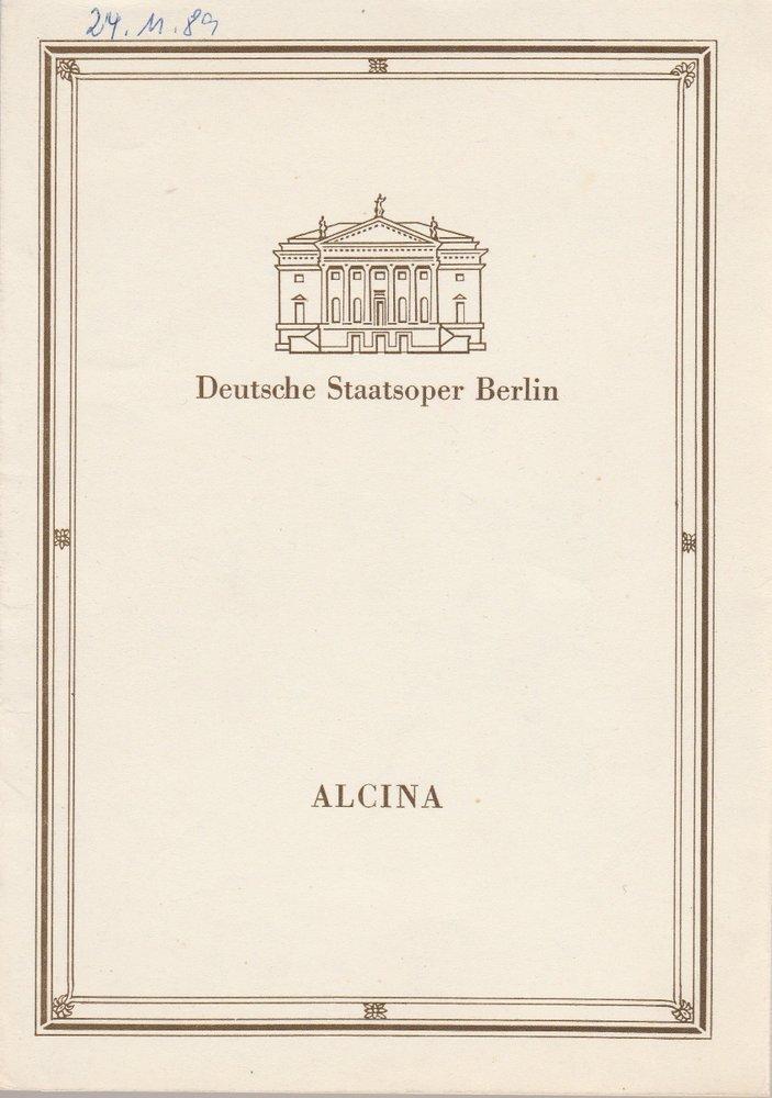 Programmheft Georg Friedrich Händel ALCINA Deutsche Staatsoper Berlin 1985