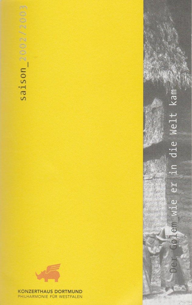 Programmheft Hans Landsberger DER GOLEM Konzerthaus Dortmund 2003