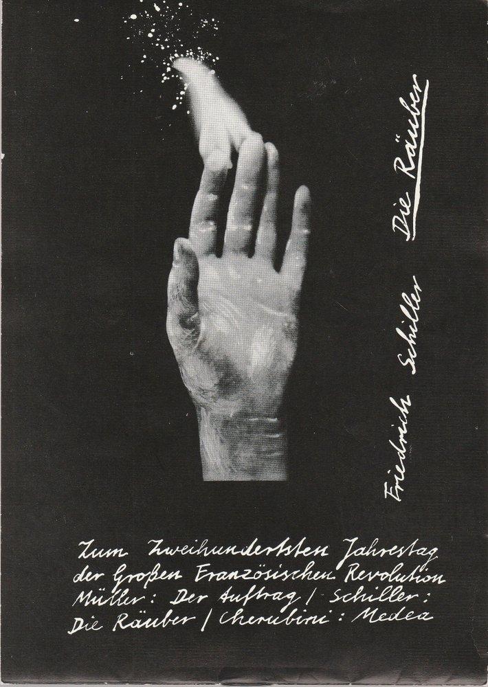 Programmheft Friedrich Schiller DIE RÄUBER Volkstheater Rostock 1989