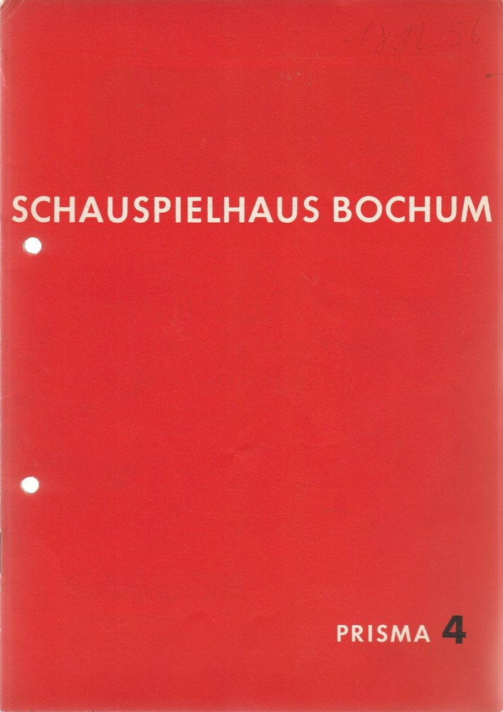 Programmheft Urauff. F. Bruckner DER TOD EINER PUPPE Schauspielhaus Bochum 1956