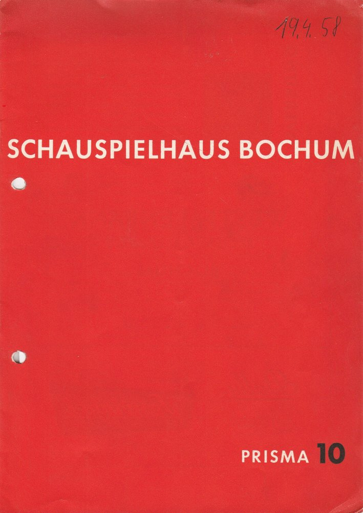 Programmheft Rafael Alberti GORGO Schauspielhaus Bochum 1958