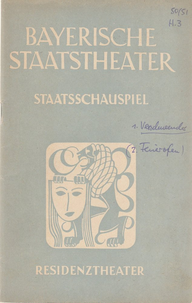 Programmheft Carl Zuckmayer GESANG IM FEUEROFEN Residenztheater 1951