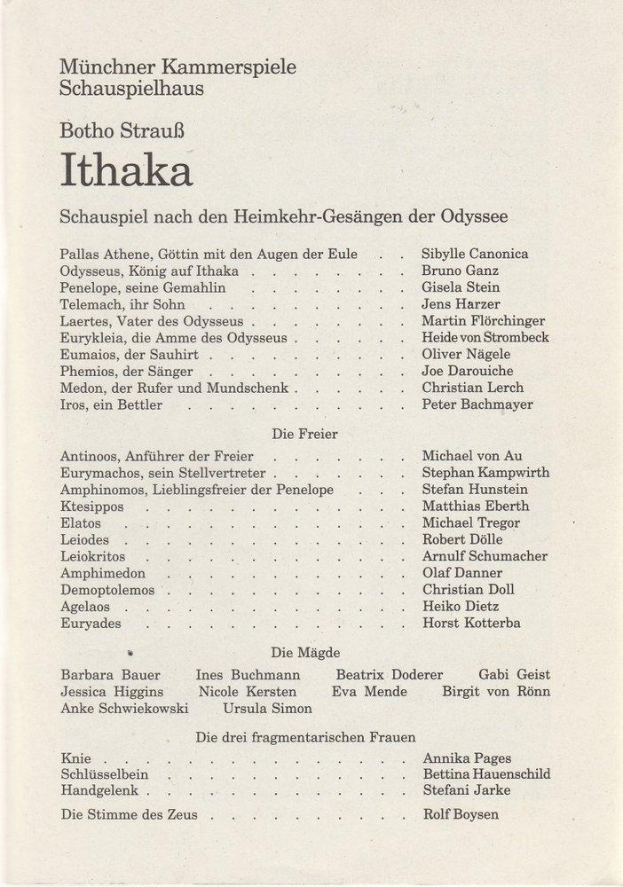 Programmheft Uraufführung Botho Strauß ITHAKA Münchner Kammerspiele 1996