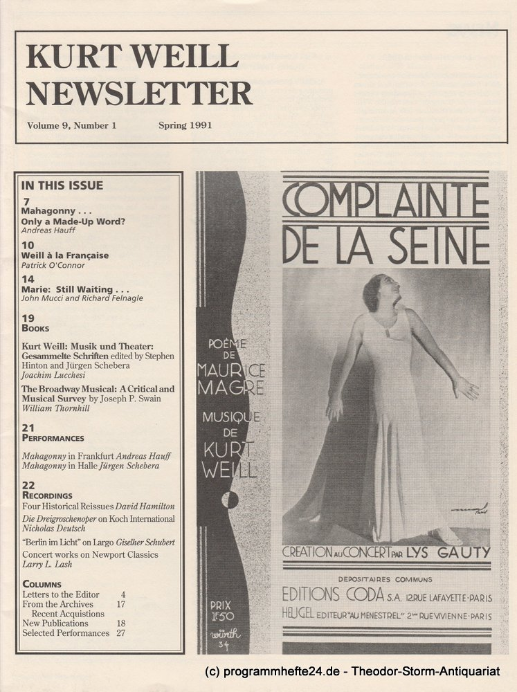 Kurt Weill Newsletter Volume 9, Number 1 Spring 1991 Kurt Weill Foundation