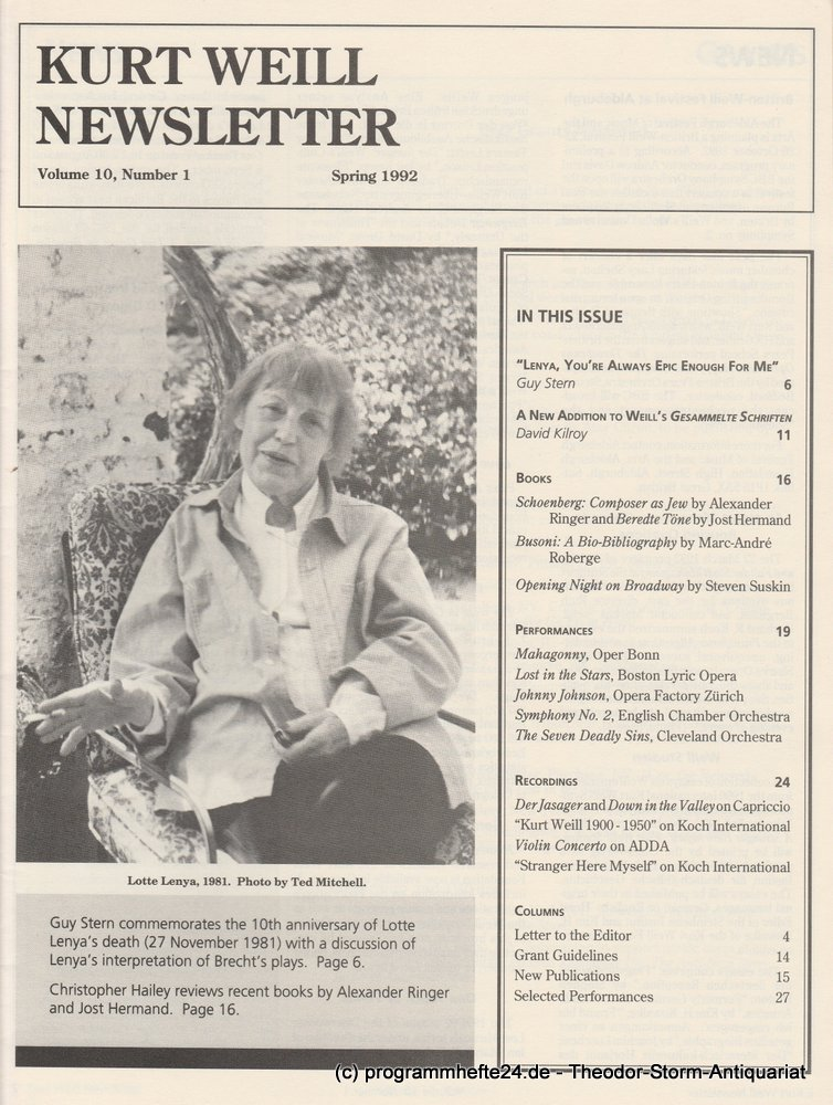 Kurt Weill Newsletter Volume 10, Number 1 Spring 1992 Kurt Weill Foundation