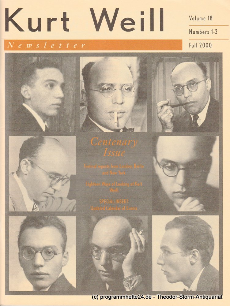 Kurt Weill Newsletter Volume 18 Numbers 1-2 Fall 2000 Kurt Weill Foundation