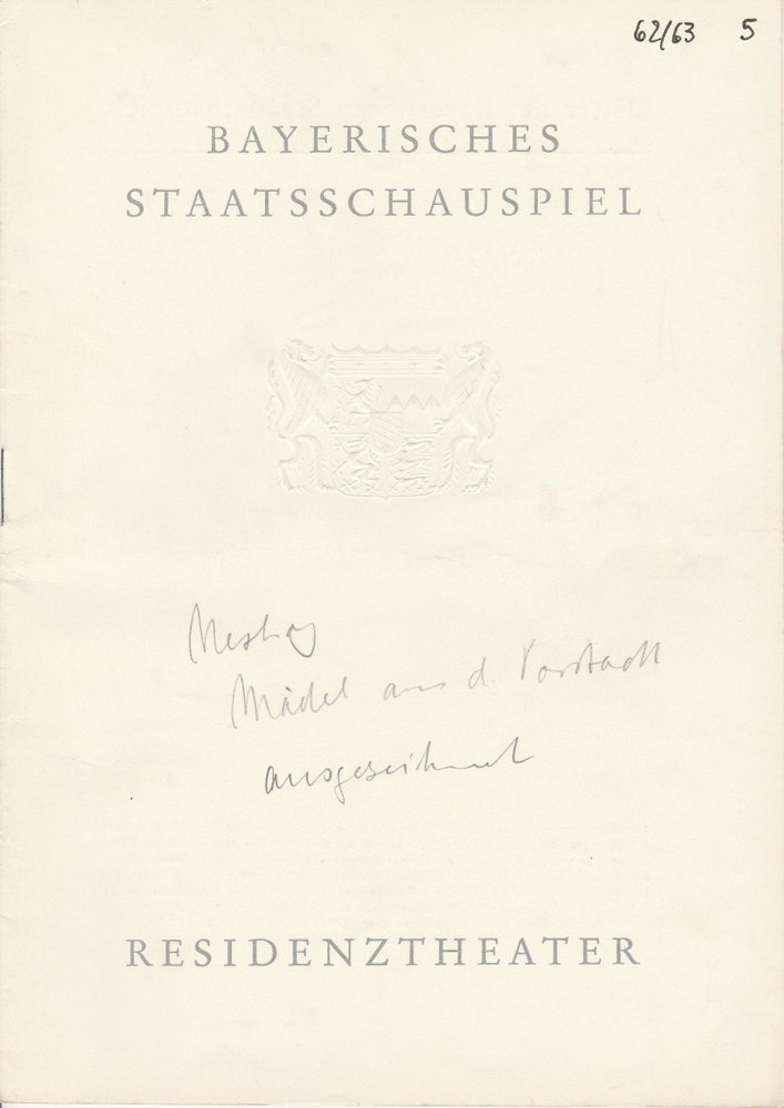 Programmheft Nestroy: Das Mädl aus der Vorstadt Residenztheater 1963