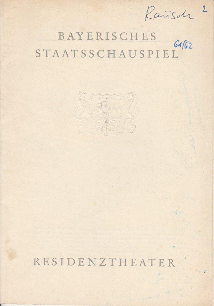 Programmheft RAUSCH von August Strindberg Residenztheater 1961