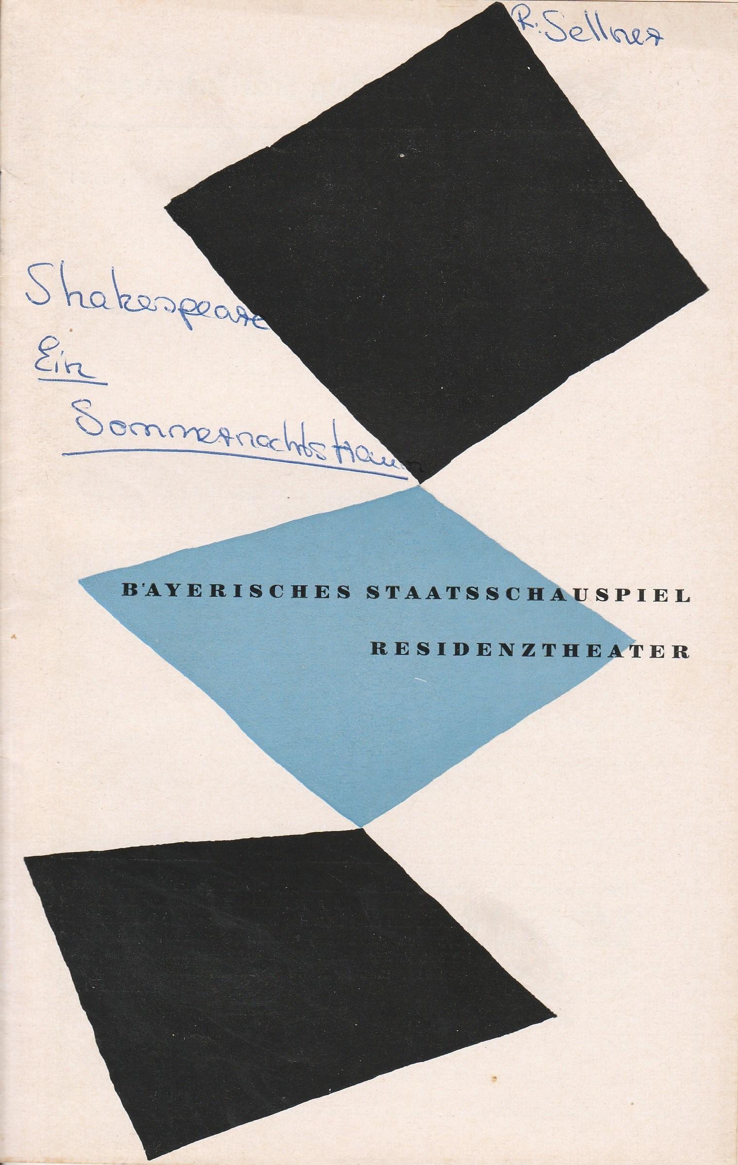 Programmheft Ein Sommernachtstraum von William Shakespeare Residenztheater 1954