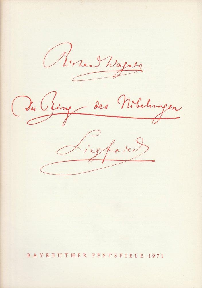 Programmheft Siegfried Bayreuther Festspiele 1971