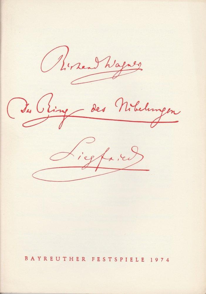 Programmheft VI Siegfried Bayreuther Festspiele 1974