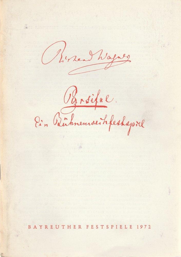 Programmheft VII Parsifal. Oper von Richard Wagner Bayreuther Festspiele 1972