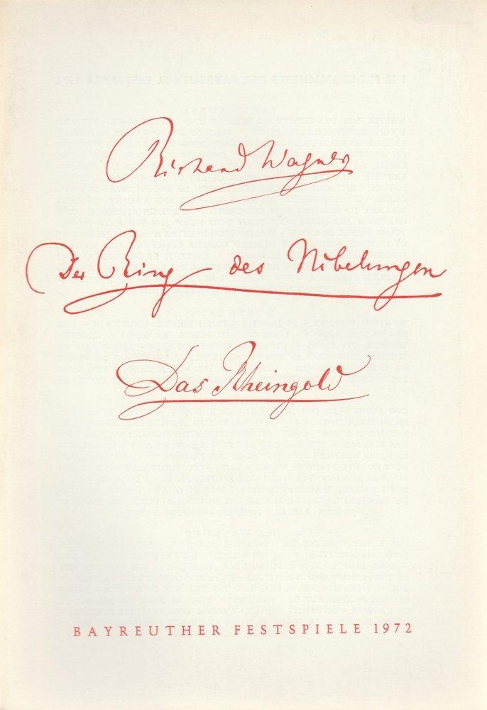 Programmheft III Das Rheingold Richard Wagner Bayreuther Festspiele 1972