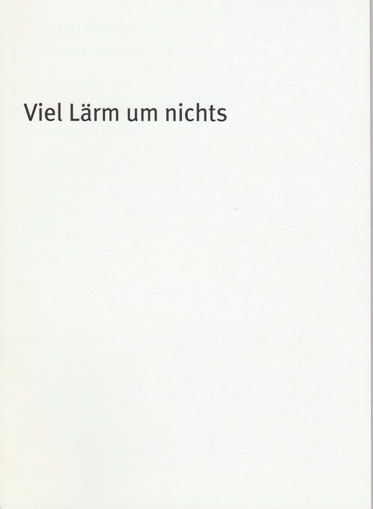 Programmheft Shakespeare: Viel Lärm um nichts Bayerisches Staatsschauspiel 2010