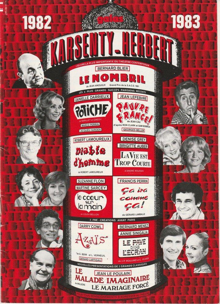 Programmheft Galas Karsenty - Herbert 1982 1983 Spielzeitheft