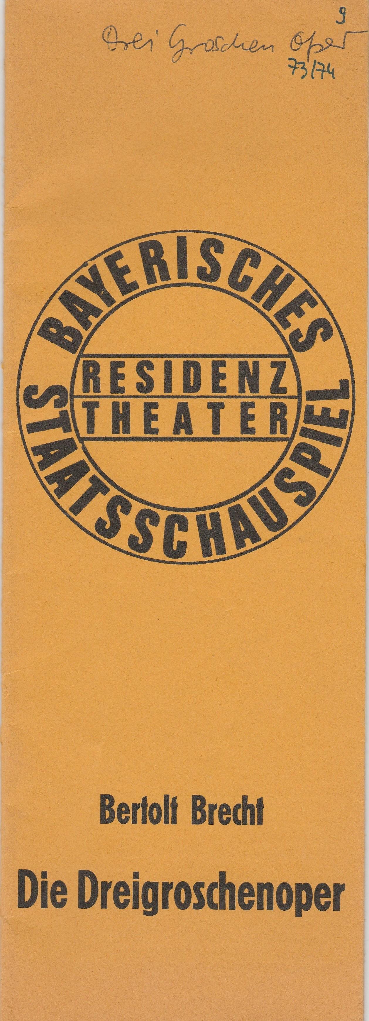 Programmheft Brecht / Weill DIE DREIGROSCHENOPER Residenztheater 1974
