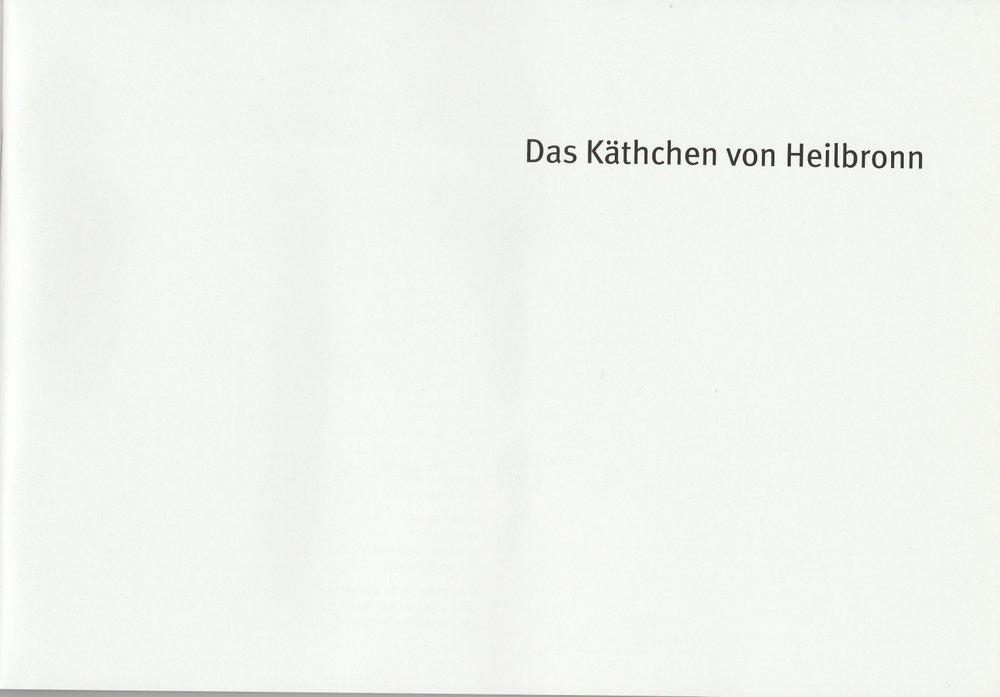 Programmheft Das Käthchen von Heilbronn Heinrich von Kleist ResidenzTheater 2011
