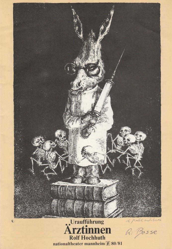 Programmheft Uraufführung Rolf Hochhuth: ÄRZTINNEN Nationaltheater Mannheim 1980