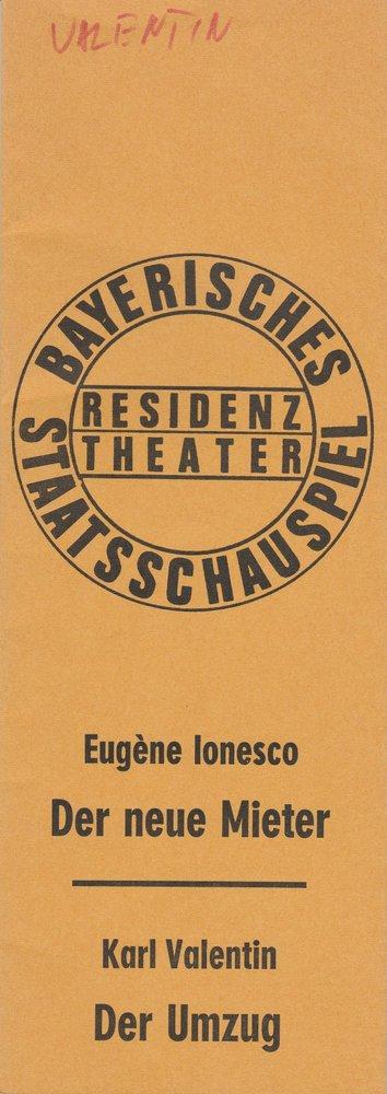 Programmheft Ionesco: Der neue Mieter / Valentin: Der Umzug Residenztheater 1972