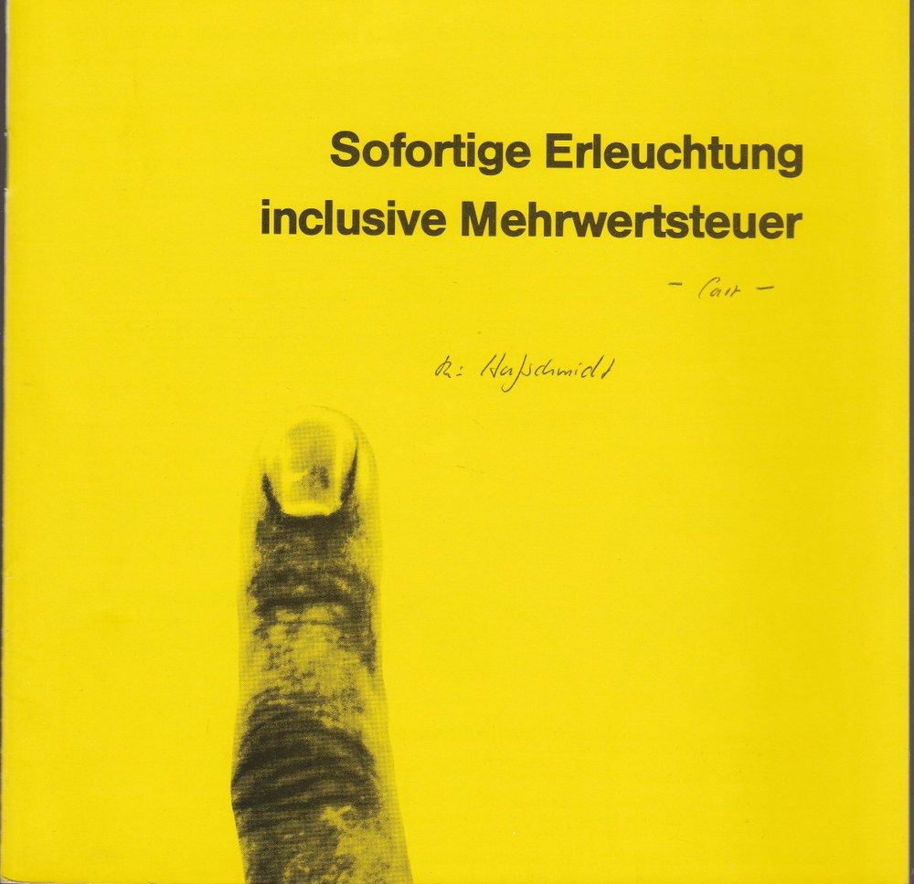 Programmheft Sofortige Erleuchtung inclusive Mehrwertsteuer Hannover 1987