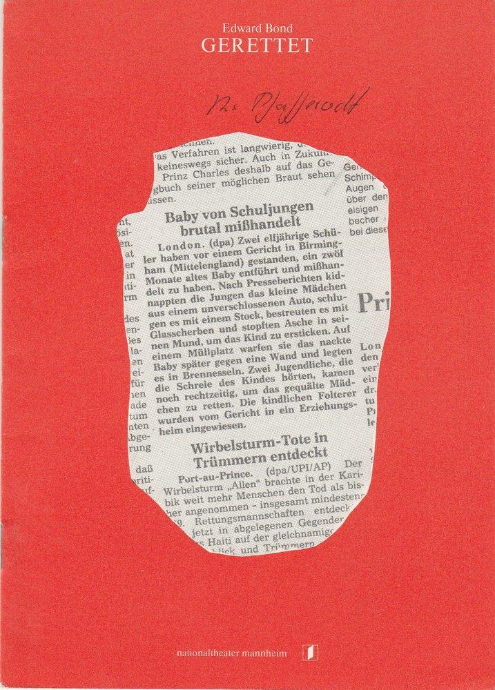 Programmheft GERETTET von Edward Bond Nationaltheater Mannhein 1981
