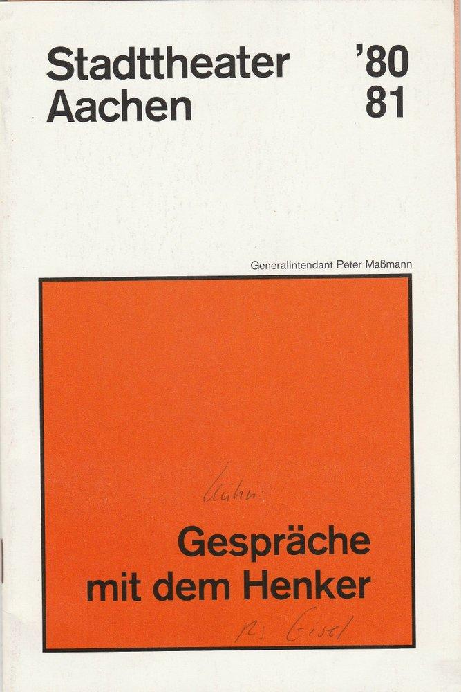 Programmheft Gespräche mit dem Henker Dieter Kühn Aachen 1980