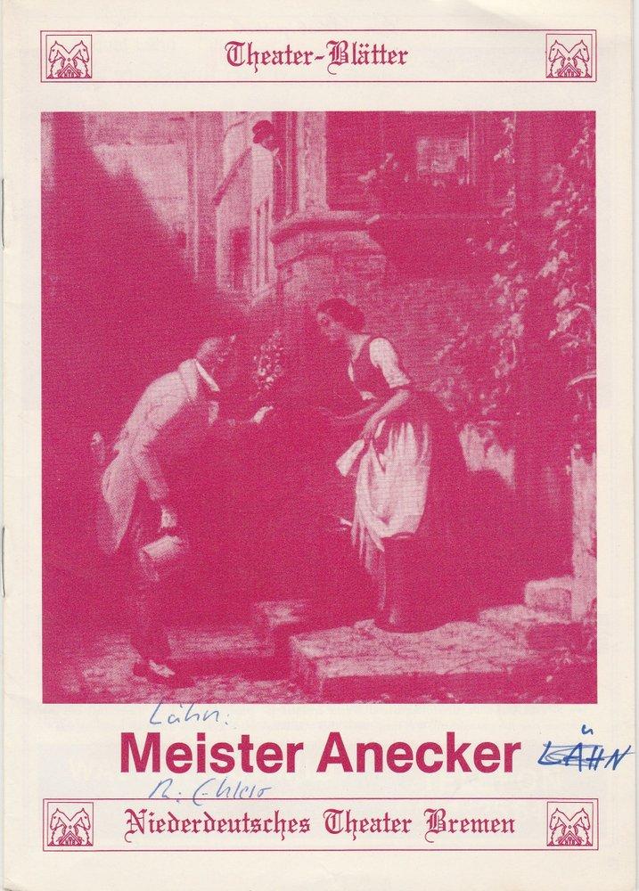 Programmheft Meister Anecker von August Lähn Niederdeutsches Theater Bremen 1980