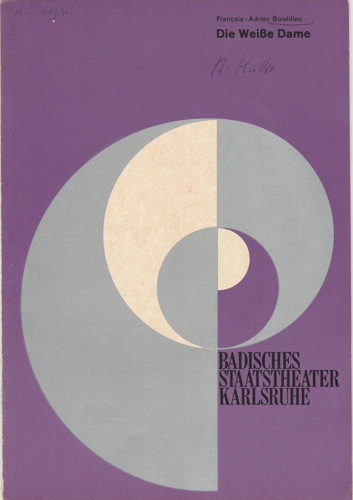 Programmheft Die Weiße Dame Komische Oper Karlsruhe 1971