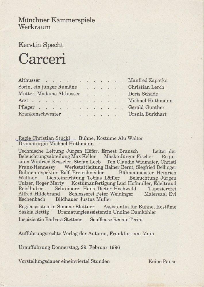 Programmheft CARCERI von Kerstin Specht Uraufführung München 1996