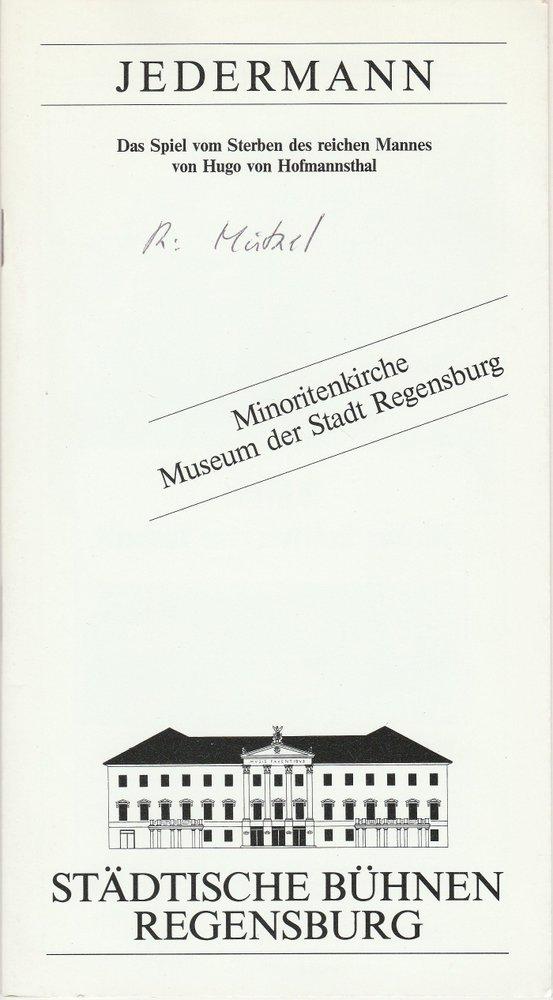 Programmheft JEDERMANN Minoritenkirche Museum der Stadt Regensburg 1989