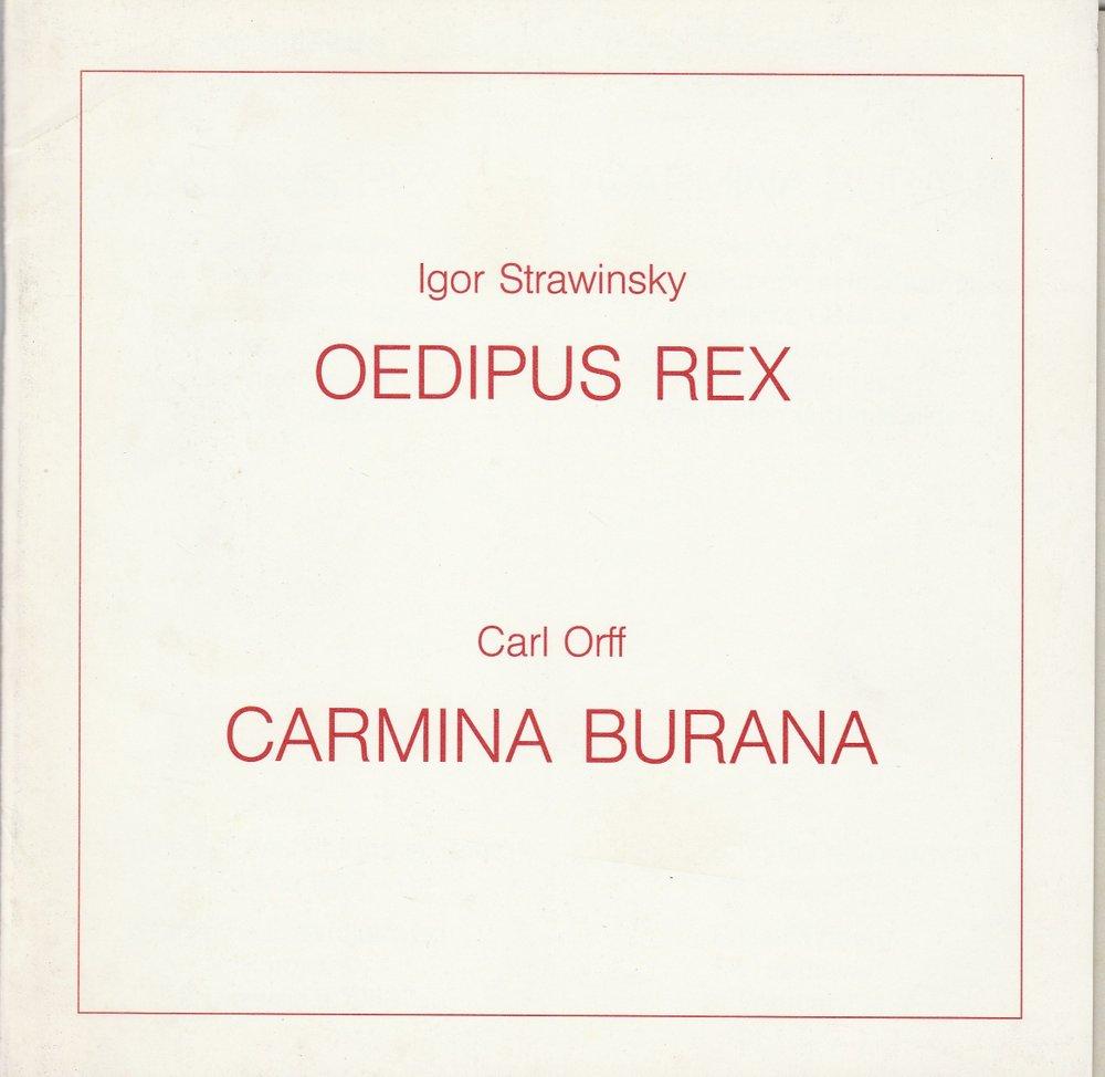 Programmheft OEDIPUS REX / CARMINA BURANA Hannover 1991