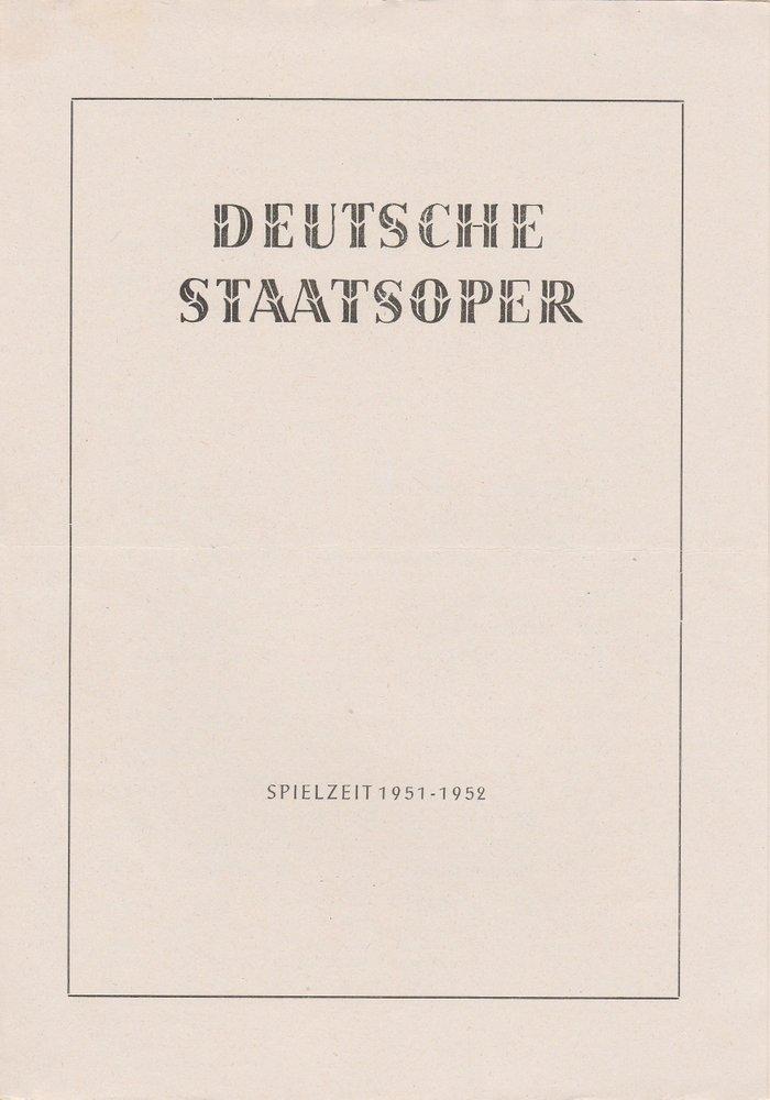 Programmheft Hänsel und Gretel Deutsche Staatsoper Berlin 1952
