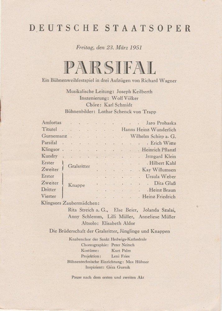 Programmheft Richard Wagner PARSIFAL Deutsche Staatsoper Berlin 1951