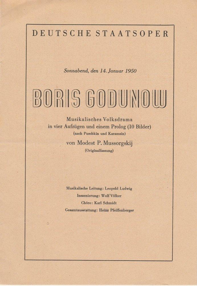 Programmheft BORIS GODUNOW Mussorgskij Deutsche Staatsoper Berlin 1950