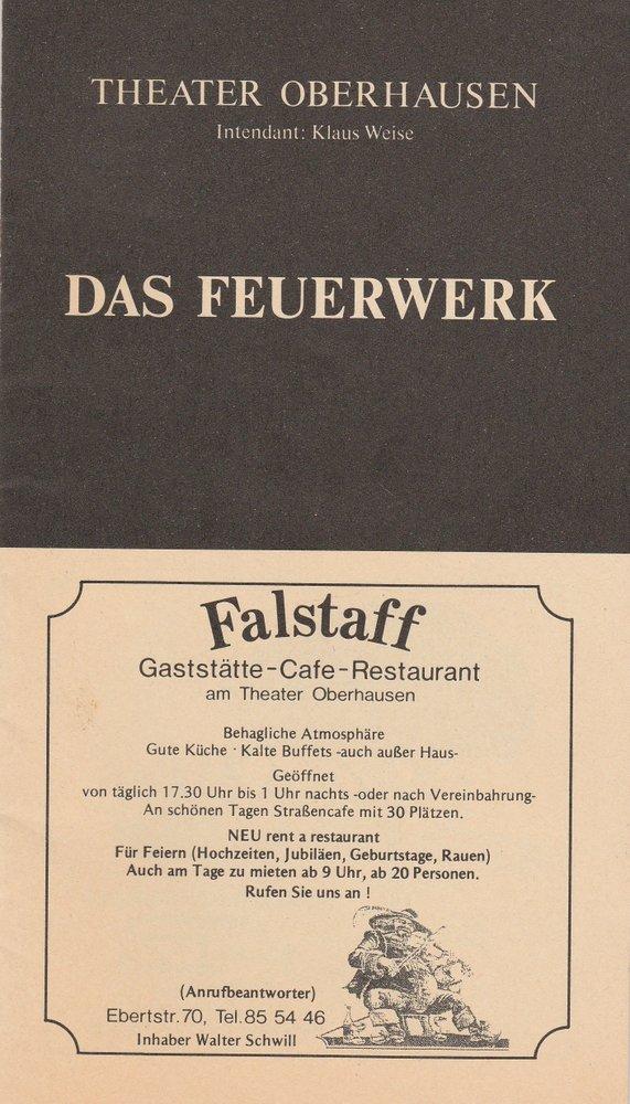 Programmheft DAS FEUERWERK von Paul Burkhard Oberhausen 1991