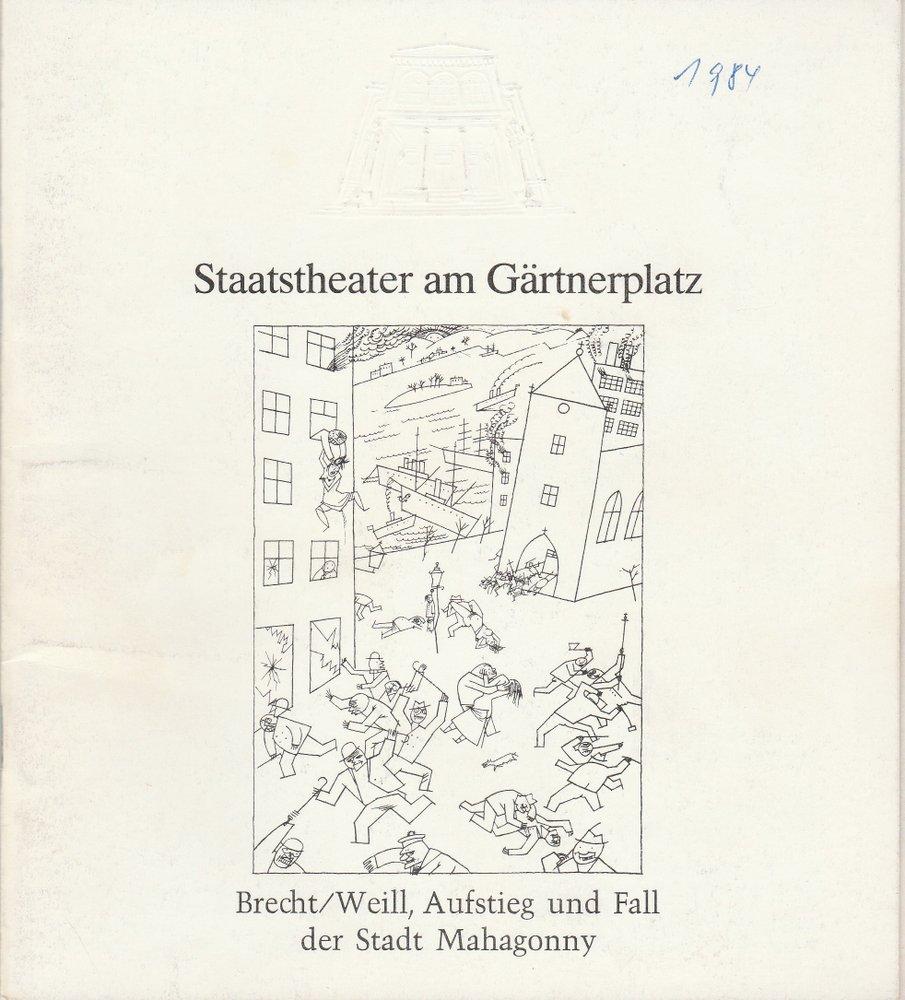 Programmheft Brecht Weill Aufstieg und Fall der Stadt Mahagonny Gärtnerplatz 84