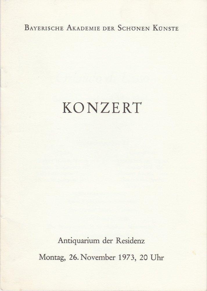 Programmheft Konzert Orlando di Lasso. Geistliche und weltliche Werke München 73