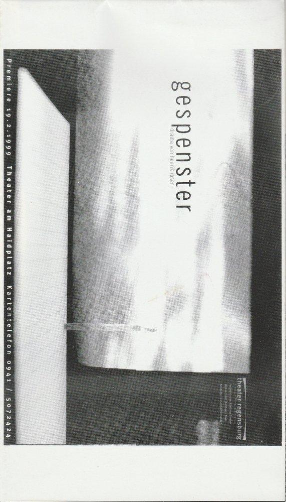 Programmheft Gespenster Henrik Ibsen Theater am Haidplatz Freiburg 1999